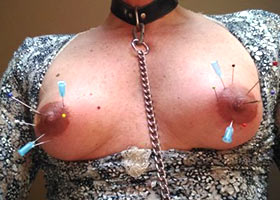 Needle play for tits and areolas of collared slave
